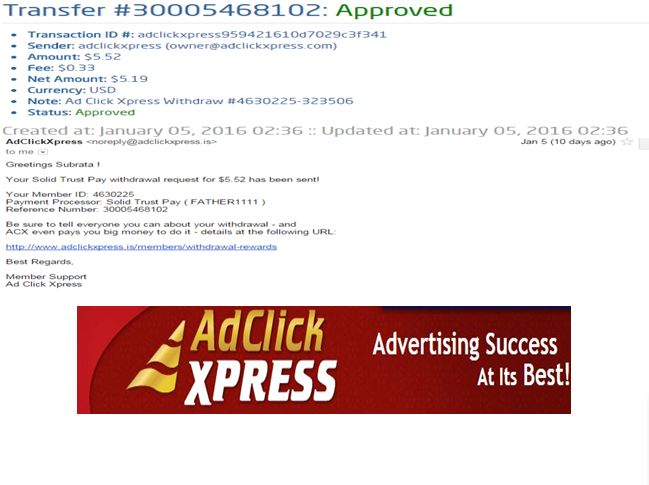 """INCOME JUST BY WATCHING ADS AND POSTING """"I WORK FROM HOME less than 10 minutes and I manage to cover my LOW SALARY INCOME. If you are a PASSIVE INCOME SEEKER, then AdClickXpress (Ad Click Xpress) is the best ONLINE OPPORTUNITY for you  And many more earnings with AdclickXpress like  GET RICH POSTING YOUR PAYOUT PROOFS AND GET REWARDS... For more Details Dial +918642008333To join Click the given link :- http://www.adclickxpress.is/?r=gs3wv27a2pqh&p=mx"""