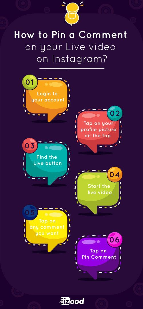 How To Pin A Comment On Your Live Video Instagram Infographic Live Video Instagram Live