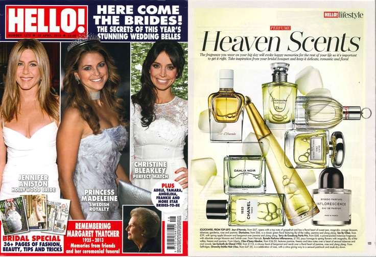 Byredo Inflorescence features in Hello! magazine this week as part of the 'Heaven scents' fragrance feature.