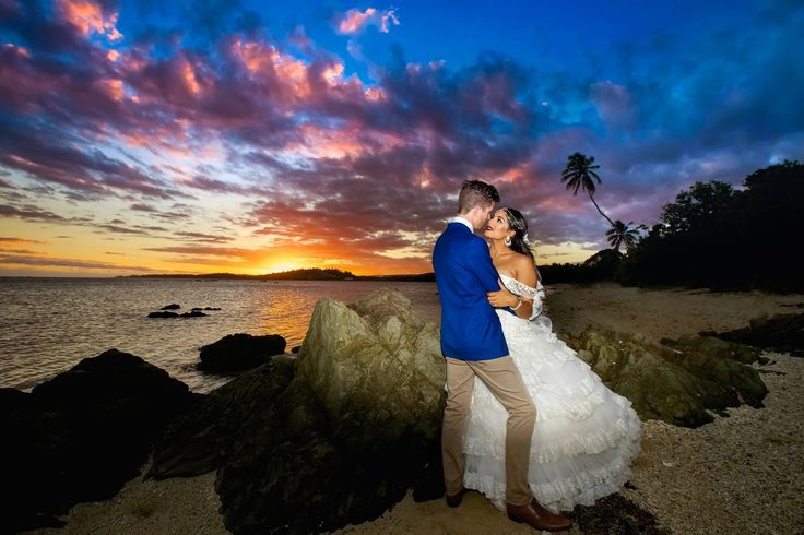 Outrigger Fiji Beach Resort Wedding Ideas Planning Inspiration Tropical Paradise Style Floral Design Planning Photography Sunset Magical Seaside Sea Beach Ocean Stunning Couple Bride Groom White Dress