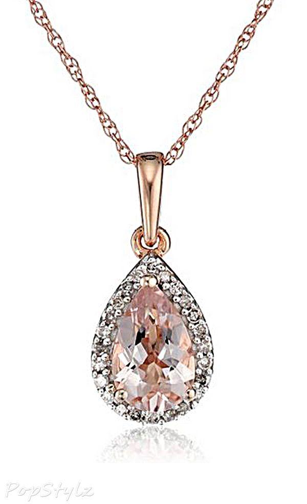 Rose Gold Morganite Diamond Halo Necklace