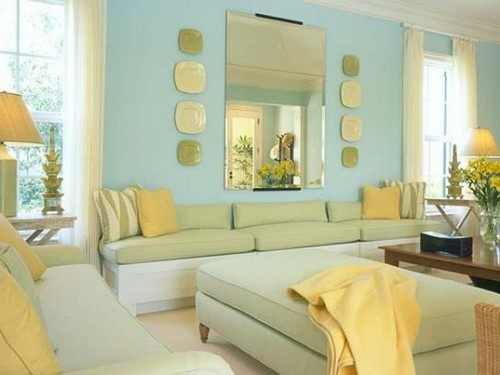 Blue yellow and green make for a fresh combination in this bright