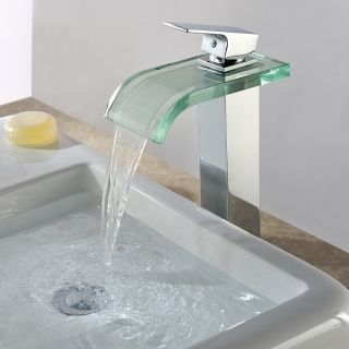 Waterfall Brass Glass Vessel Chrome Finished Basin Faucets Water Saving Mixer Taps