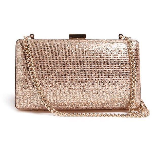 Forever21 Glitter Clutch Bag ($18) ❤ liked on Polyvore featuring bags, handbags, clutches, rose gold, clasp purse, brown purse, structured handbags, structured purse and forever 21 purses