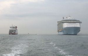Oasis of the Seas cruise linervs Red Funnel ferry - by Dave Monk