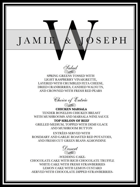 Wedding Reception Dinner Menu By Weddingsbyjamie