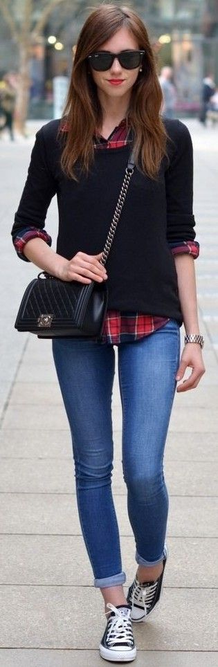 #september #trending #outfits | Black Sweater + Plaid Shirt + Denim