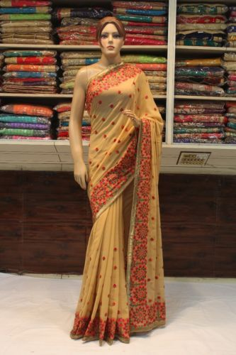 Bollywood-Indian-Ethnic-Traditional-Kashmiri-Work-Saree-Sari-Bridal-Party-Dress