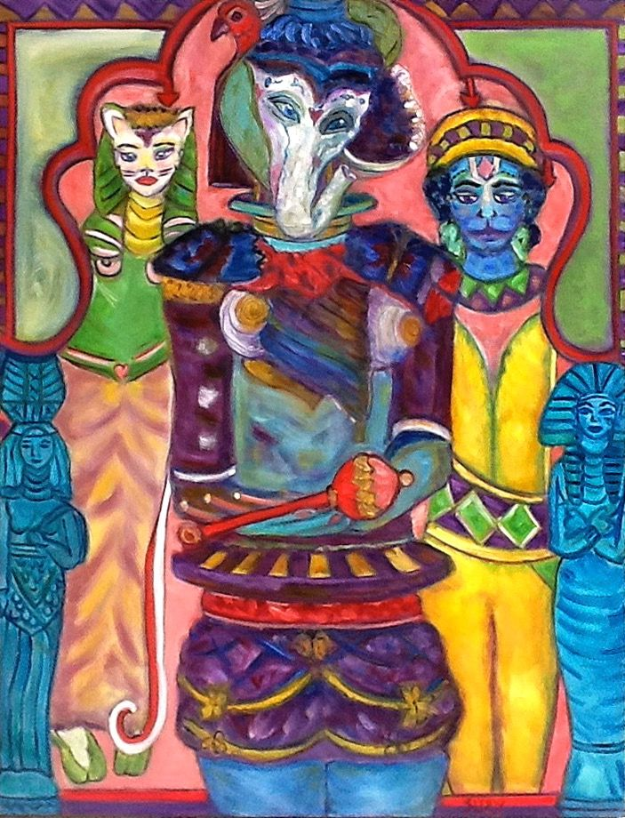 """Ganesha with Consorts"" oil on canvas"