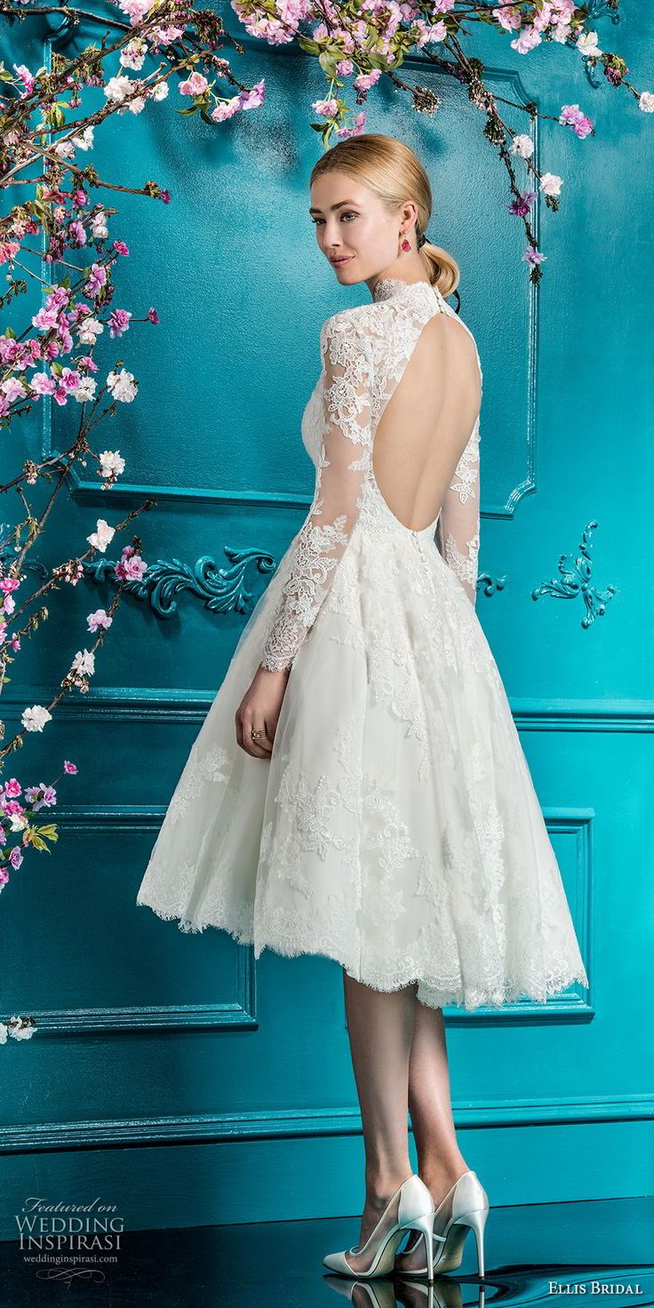 ellis bridals 2018 long sleeves illusion high neck sweetheart neckline full embellishment romantic pretty knee length short wedding dress keyhole back (4) bv -- Ellis Bridals 2018 Wedding Dresses