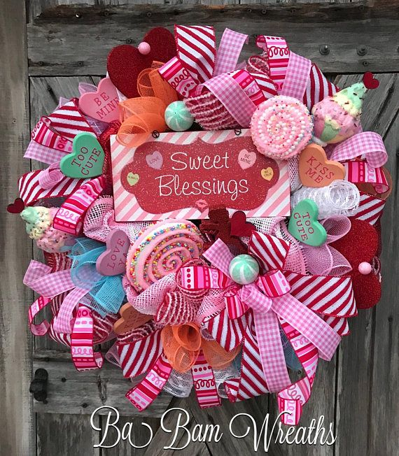 Valentine Wreath, Valentine Decor, Valentine Door, Welcome Sign Sweet Blessings! ❤️❤️ ''Tis the season for LOVE~ we're talking Valentines honey! Greet the season and adorn your door with this beauty! Filled with lots of charm, impeccable design, an eye to pop on your door~ this