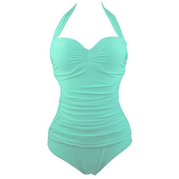 Women's Elegant Inspired Retro Vintage One Piece Pin Up Monokinis... ($18) ❤ liked on Polyvore featuring swimwear, one-piece swimsuits, light blue, retro swimsuit, retro style one piece swimsuits, swim suits, monokini swimsuits and retro pin up bathing suit
