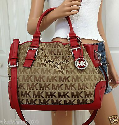 Michael Kors Brookville Large MK Signature Crossbody Tote Bag Purse Red Beige