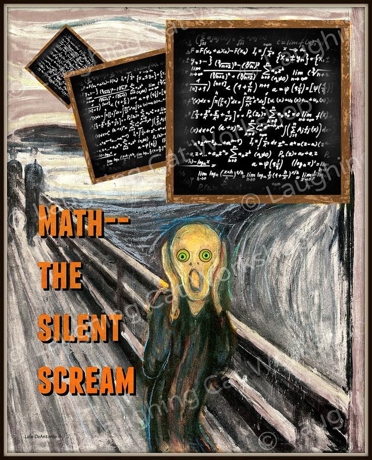 """Funny Math print Calculus print Funny Dorm Decor funny school decor math teacher gift Math Poster math art college print Edvard Munch The Scream print. Math-- the silent Scream. A funny derivative work from Edvard Munch's """"The Scream""""-- perfect for dorm rooms and math teachers. Professionally printed in a matte finish on Kodak Professional Endura Paper and mailed to you directly from the printer. USPS Track & Confirm tracking numbers are provided at no additional charge. Mat and frame are..."""