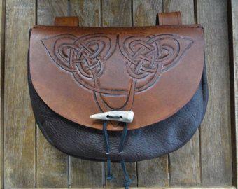 Nodo celtico in pelle sacchetto, sacchetto della cinghia medievale rinascimentale, lavorata - Deluxe