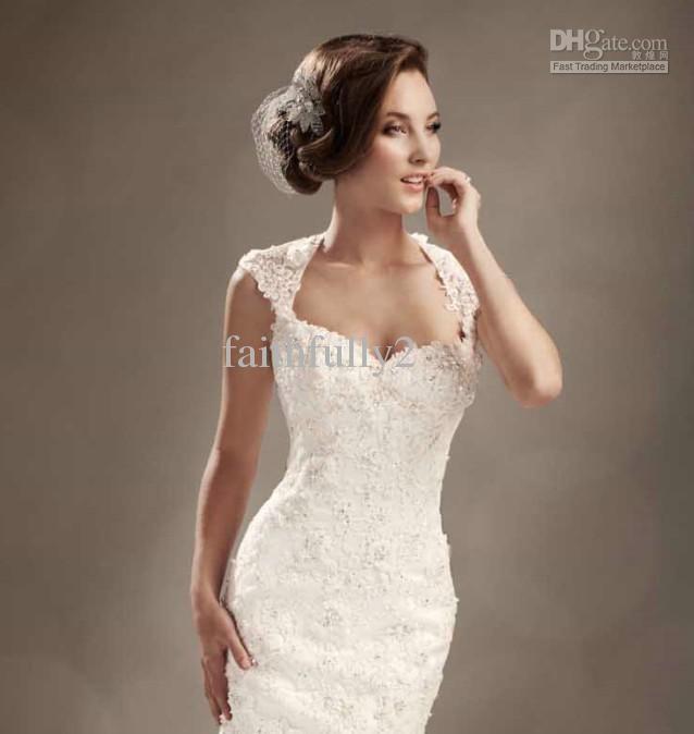 Winter mermaid wedding dresses cap sleeves lace beaded for Winter mermaid wedding dresses