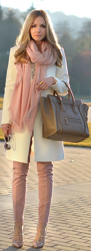 Somehow, these spring colors easily transition to a wintery look. Time to find some pale pink!: