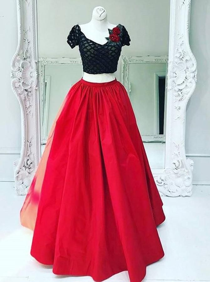 f4361055112 Two Piece V-Neck Short Sleeves Red Taffeta Prom Dress with Lace Flower –  Rose Gold Dresses