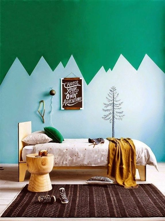 Eclectic Kids Bedroom with High ceiling, Hardwood floors, Paint1