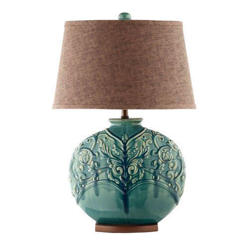 End Table Lamp Vintage Living Room Cocktail Coffee Turquoise Blue Green 3 Way