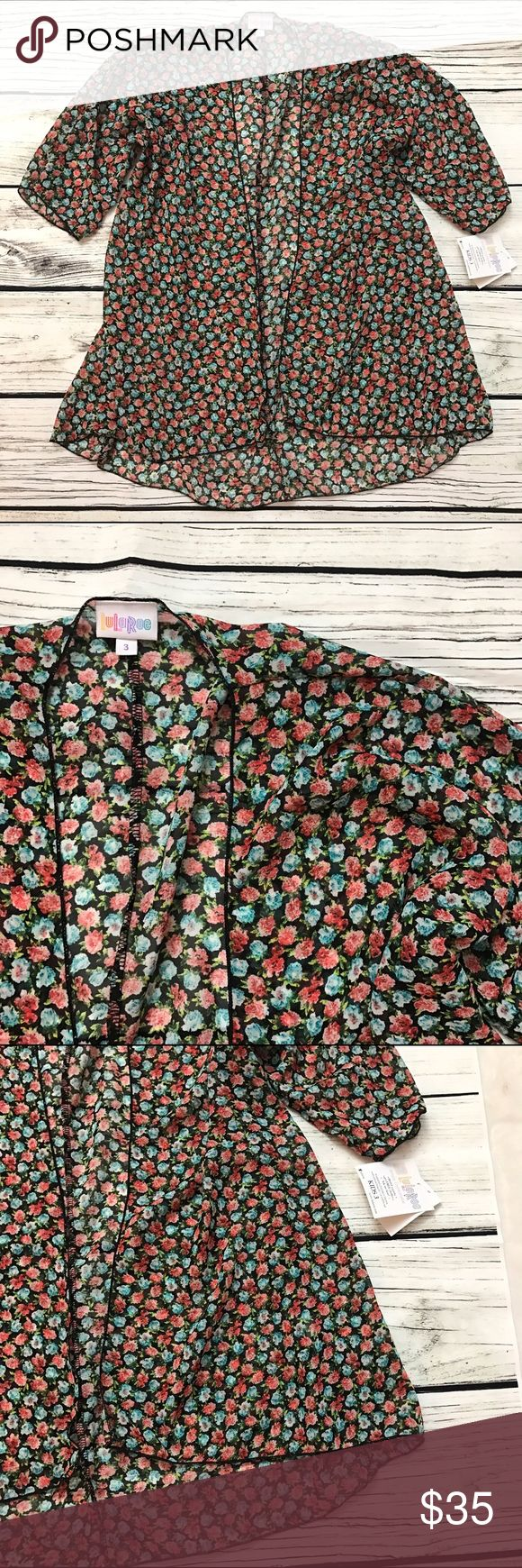 NWT LULAROE Bianka Floral Kimono Cardigan 3 LULAROE Bianka Floral Kimono Cardigan - kids 3. Could also fit an adult S/M. Brand new with tags. LuLaRoe Shirts & Tops