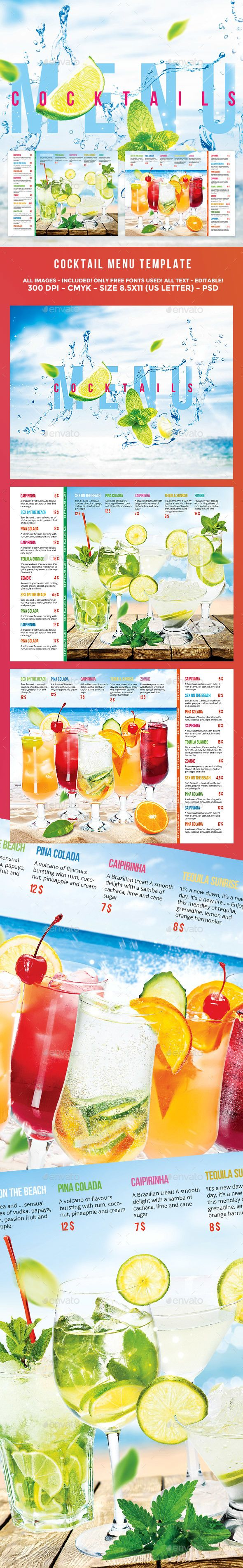 Cocktail Drinks Menu  Drinks Menu Template Free