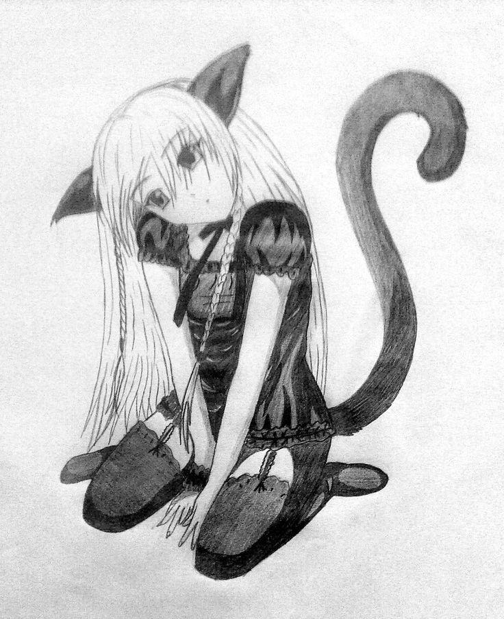 Fille chat reproduction dessin la main peinture - Femme chat manga ...