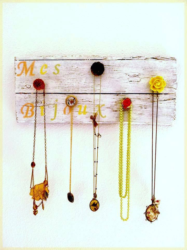 Hand made and unique wooden necklace hanger with five knobs 45 e