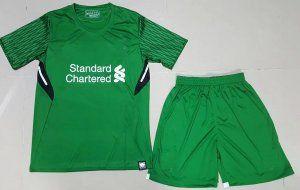 Kids Liverpool 2017-18 Season Green Goalkeeper Kit