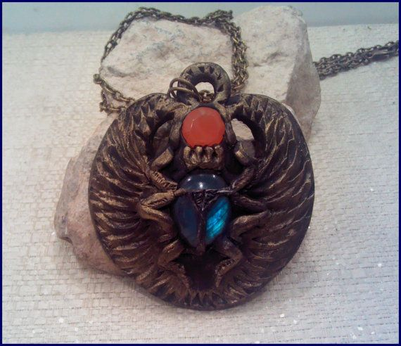Labradorite &Carnelian  Polymer Clay Scarab Statement Necklace
