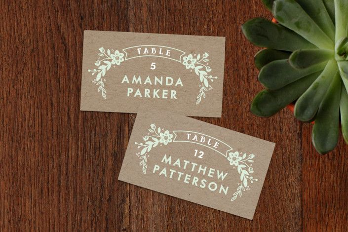 Ampersand Floral Wedding Place Cards by Alethea and Ruth at minted.com
