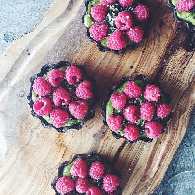 Chocolate And Matcha Tarts With Raspberries