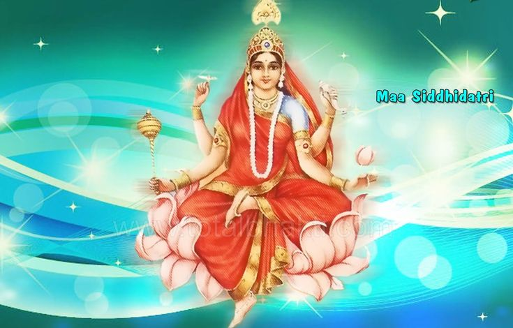 MAA SIDDHIDATRI PUJA DAY 9 NAVRATRI 2014 Origin - In the beginning of the universe Lord Rudra worshipped Adi-Parashakti for creation. It is believed that Goddess Adi-Parashakti had no form. The supreme Goddess of Power, Adi-Parashakti, appeared in the form of Siddhidatri from the left half of Lord Shiva.   Devanagari Name - सिद्धिदात्री   Stuti - या देवी सर्वभूतेषु माँ सिद्धिदात्री रूपेण संस्थिता। नमस्तस्यै नमस्तस्यै नमस्तस्यै नमो नम:।