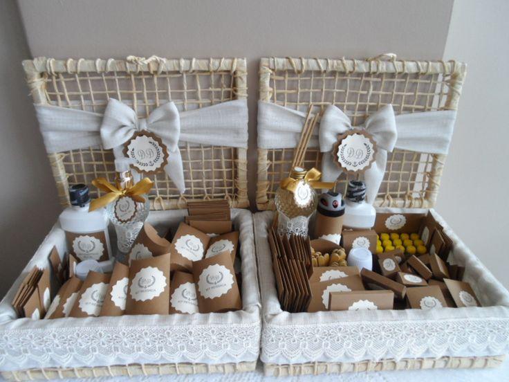 Kit toillet e kit ressaca rústico refinado para casamento na praia produzido por Mônica Guedes