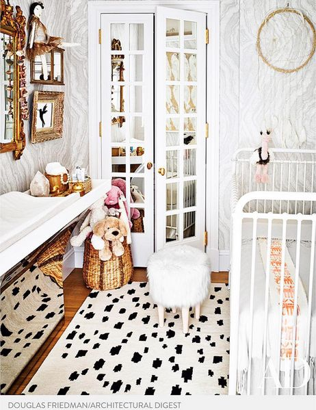 Caitlin Wilson | Black Spotted Rug featured in Nate Berkus and Jeremiah Brent's daughter's nursery