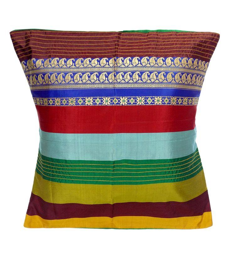 Multicoloured Pure Silk Embroidered Cushion Cover #cushioncovers #homedecor #linen #Decor