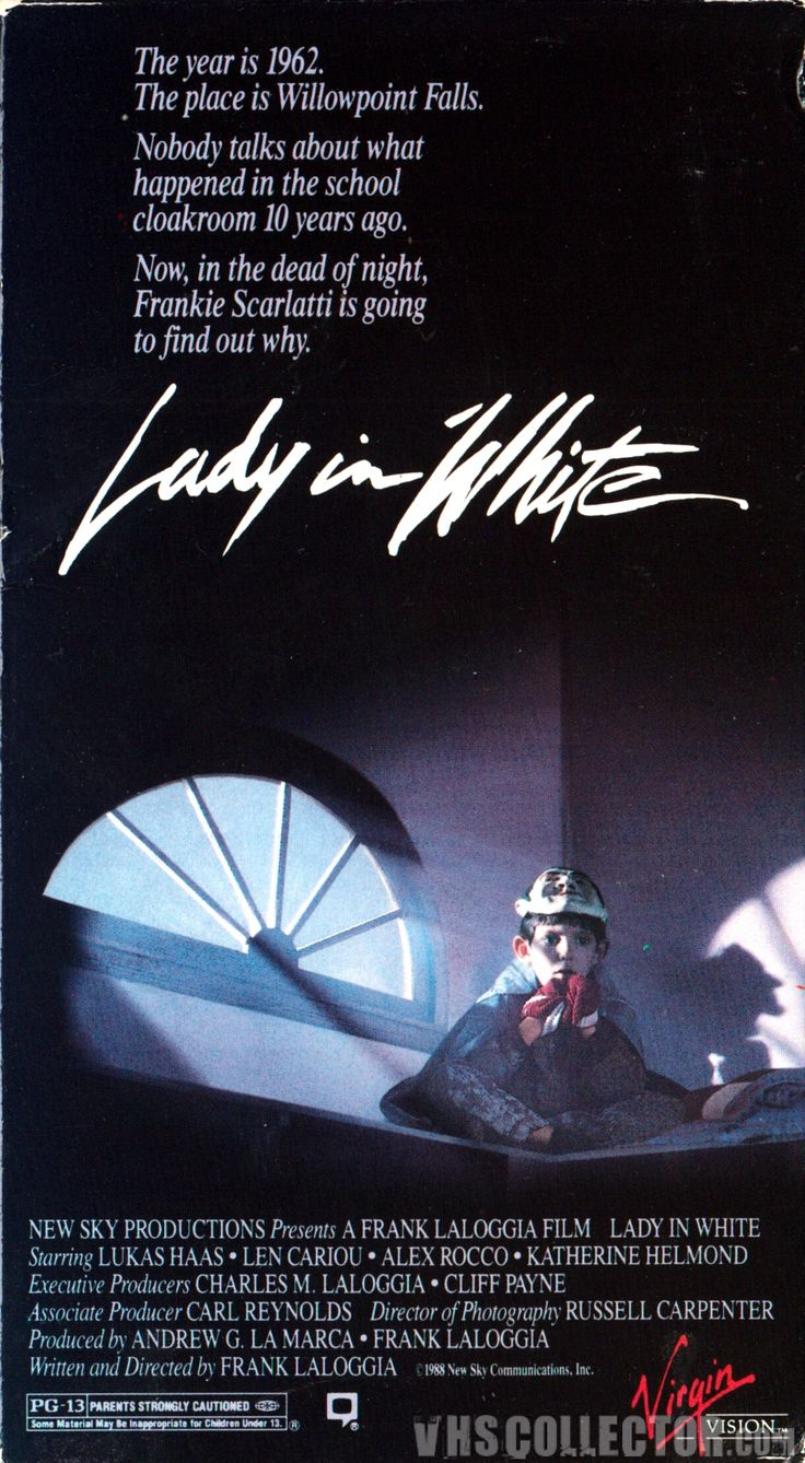 Lady in White [1988] Fantasy, Horror, Mystery - Lukas Haas, Len Cariou, Joelle Jacobi - Locked in the cloakroom after school as a Halloween prank, Frankie (Haas) meets the ghost of a young neighborhood girl, Melissa Anne Montgomery (Jacobi), who had been found strangled to death 10 years before.