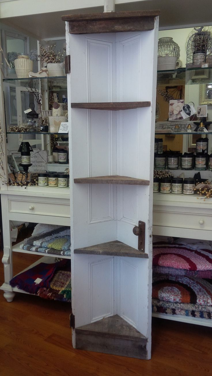 Upcycle a Door to make a Corner Shelf.    If you do not have the time to search out the items & DIY, we are here for you!    Stop in for a browse to see the Upcycled Collections by Local Artisans at Mariposa Design in Perth, Ontario. <3  We have a larger white door corner shelf and a small 'green' door corner shelf available in the shoppe ~ 73 Foster Street, Perth, ON