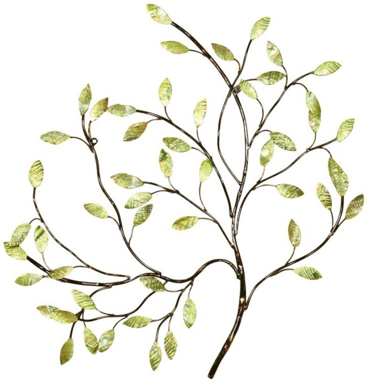 Contemporary Green Leaves Metal Wall Art -