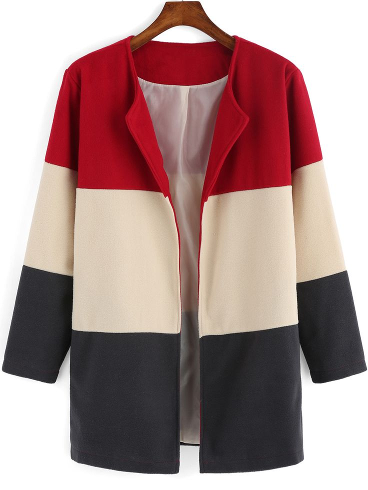 Colour-block Long Sleeve Woolen Coat 23.18