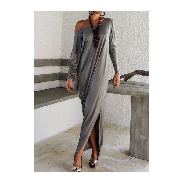 Rotita Grey Off the Shoulder Dolman Sleeve Draped Maxi Dress (£18) ❤ liked on Polyvore featuring dresses, grey, long sleeve dress, long sleeve maxi dress, long-sleeve maxi dresses, grey maxi dress and long sleeve off the shoulder dress