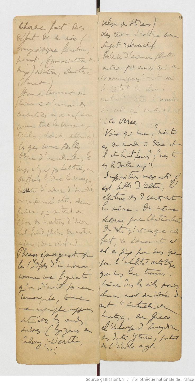 "Fonds Marcel Proust. II — À LA RECHERCHE DU TEMPS PERDU. A — Manuscrits autographes. XXVII-XXX Carnets de notes. XXVII Notes de lecture et notes préparatoires à l'essai sur Sainte-Beuve, pour la plupart de 1908. More: Then the f. 8v-9 17 ◉ ""Phrase emerging for 1st time a song, as a stand-in that we had not noticed before, like a nymph appearing as sound waves (gypsy Cabourg, Werther, Straus Waltz [sic]). "" Here: * http://books.openedition.org/editionsbnf/1466"