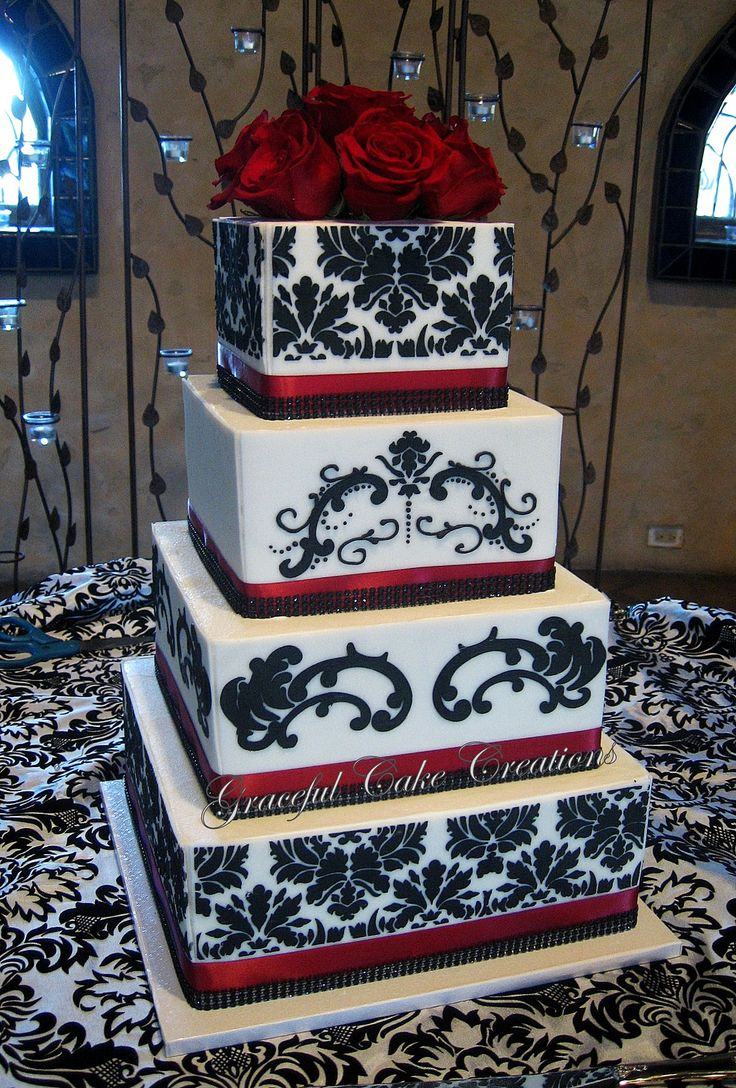 https://flic.kr/p/hn3tfP | Elegant White and Black Damask Wedding Cake with Red Roses
