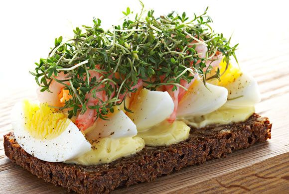 Boiled eggs open sandwiches