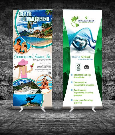 Cosmopolitan Travels, Inc and Royal Paper Box Trade show Banners