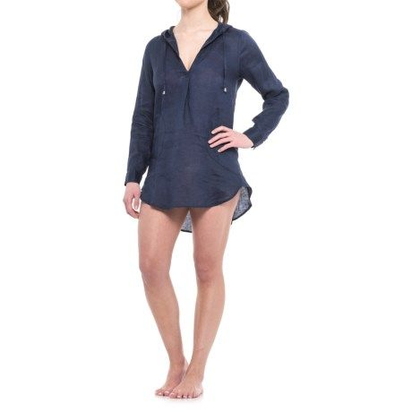 62dfb56ff9e87 Forcynthia Beachwear Linen Hooded Cover-Up - Long Sleeve (For Women ...