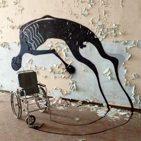 Painted Shadows Haunt Abandoned Psychiatric Hospital - WebUrbanist