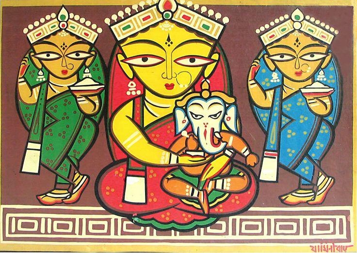 Jamini Roy-Goddess Durga with Lakshmi, Saraswati and Ganesha