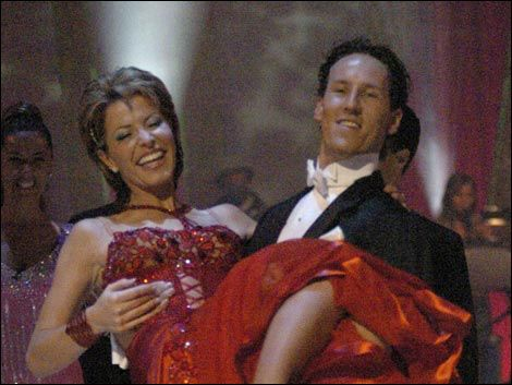 Newsreader Natasha Kaplinsky wins the first series of Strictly with dance partner Brendon Cole (2003)
