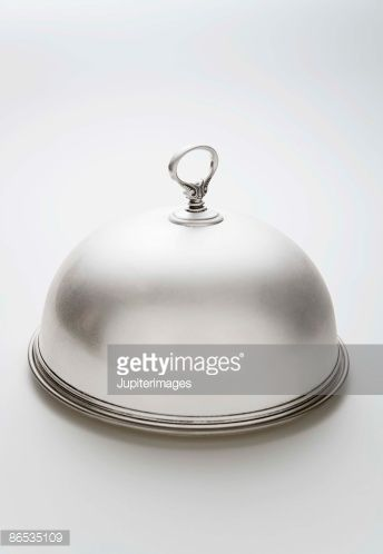 Stock Photo : Silver plated Dome Plate cover